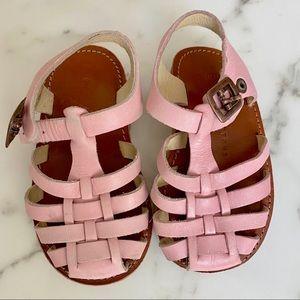 Genuine pink leather summer girls sandals size 7